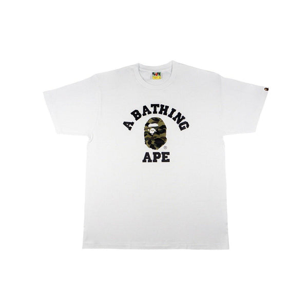 A BATHING APE CAMO COLLEGE TEE WHITE/CAMO-T-Shirts-A Bathing Ape-HYPESTEIN