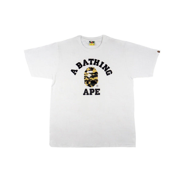 A BATHING APE CAMO COLLEGE TEE WHITE/YELLOW CAMO-T-Shirts-A Bathing Ape-HYPESTEIN