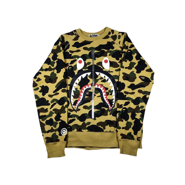 A BATHING APE CAMO SHARK CREWNECK-Hoodies and Sweatshirts-A Bathing Ape-L (PRE-OWNED)-HYPESTEIN