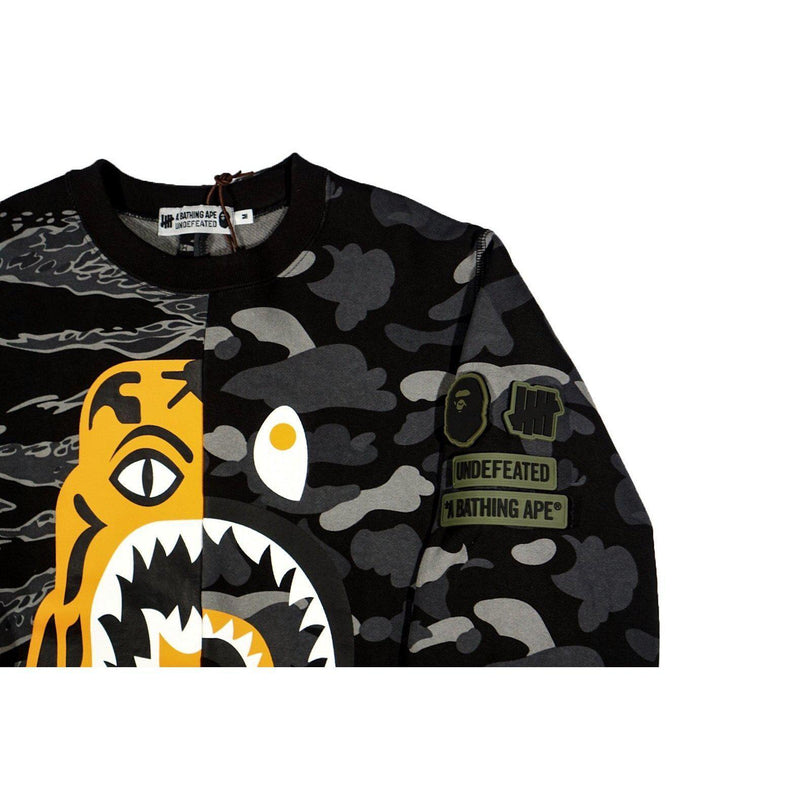 A BATHING APE X UNDEFEATED TIGER SHARK HALF CREWNECK BLACK-Hoodies and Sweatshirts-A Bathing Ape-M-HYPESTEIN