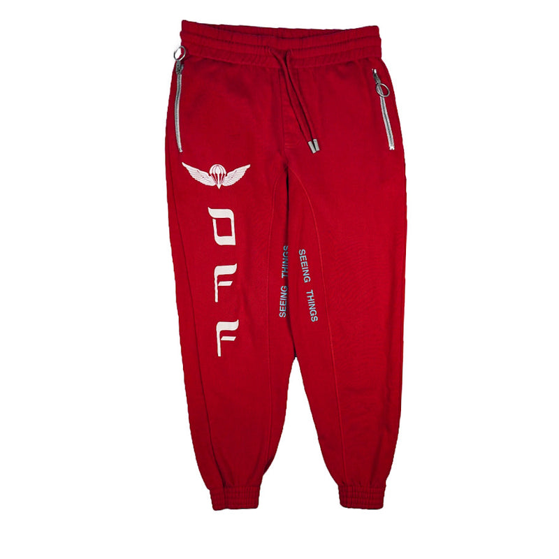 OFF-WHITE RED PARACHUTE JOGGERS