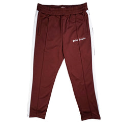 PALM ANGELS TAPED TRACK PANT BURGUNDY WHITE