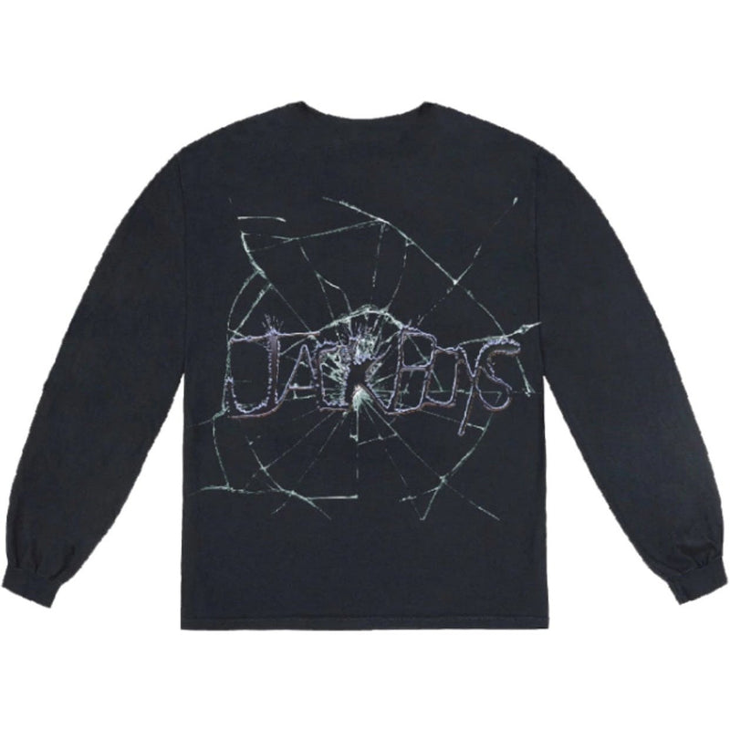 TRAVIS SCOTT JACK BOYS CRACKED L/S T-SHIRT BLACK