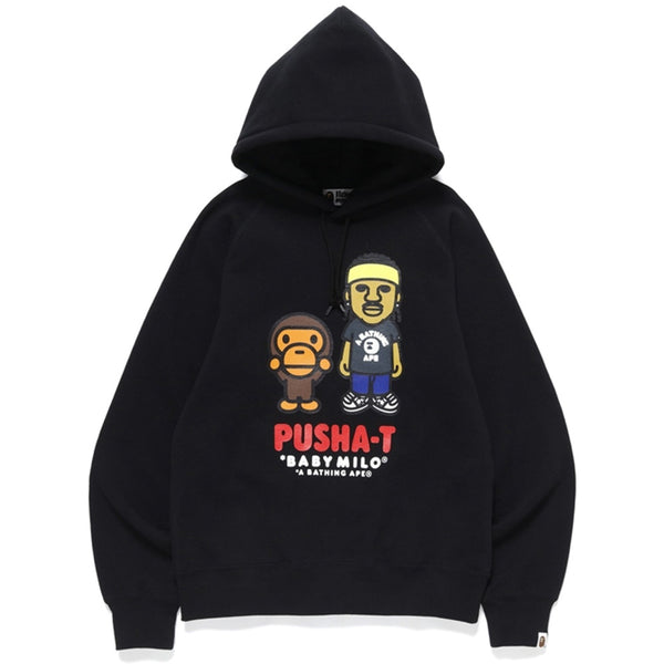 A BATHING APE X PUSHA T BABY MILO HOODIE BLACK