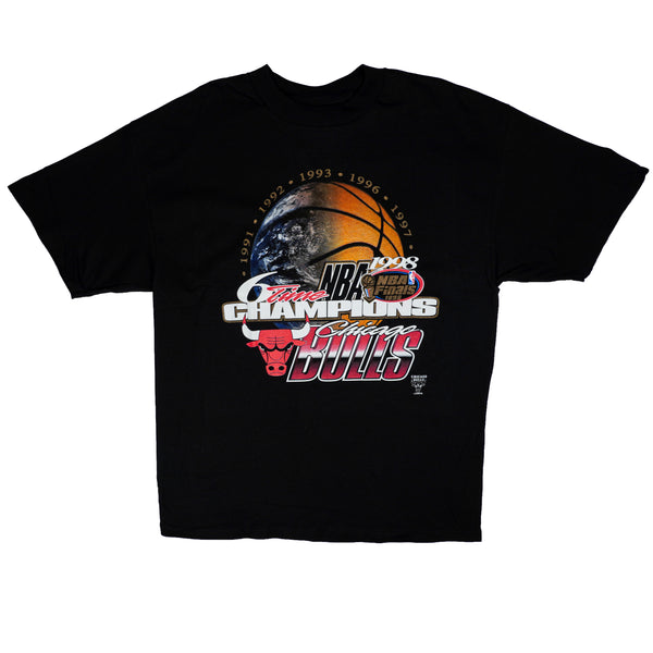 1998 VINTAGE CHICAGO BULLS 6 TIME NBA CHAMPIONS TEE (DSWT)