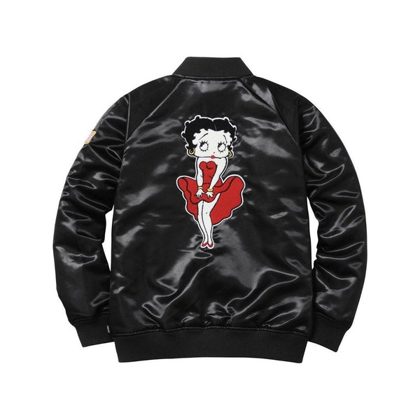 SS16 SUPREME BETTY BOOP SATIN CLUB JACKET BLACK