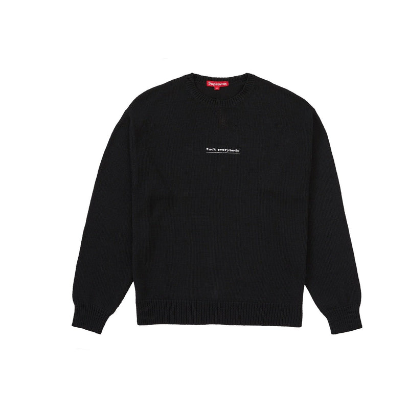 SUPREME FUCK EVERYBODY SWEATER BLACK