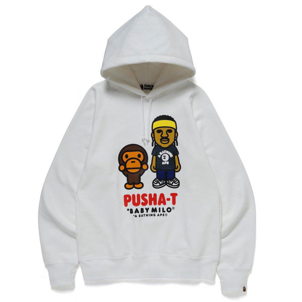 A BATHING APE X PUSHA T BABY MILO HOODIE WHITE