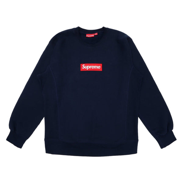 FW15 SUPREME BOX LOGO CREWNECK NAVY