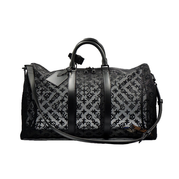 LOUIS VUITTON  KEEPALL BANDOULIERE MONOGRAM MESH 50 BLACK