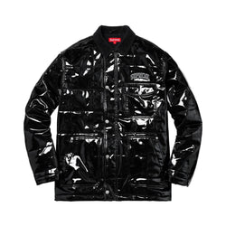 SS18 SUPREME QUILTED PATENT VINYL WORK JACKET BLACK