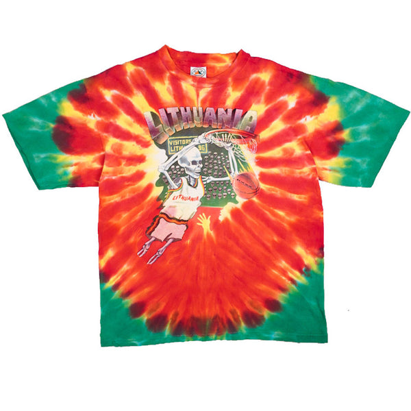 1992 VINTAGE LITHUANIA BASKETBALL GRATEFUL DEAD BARCELONA TIE DYE TEE