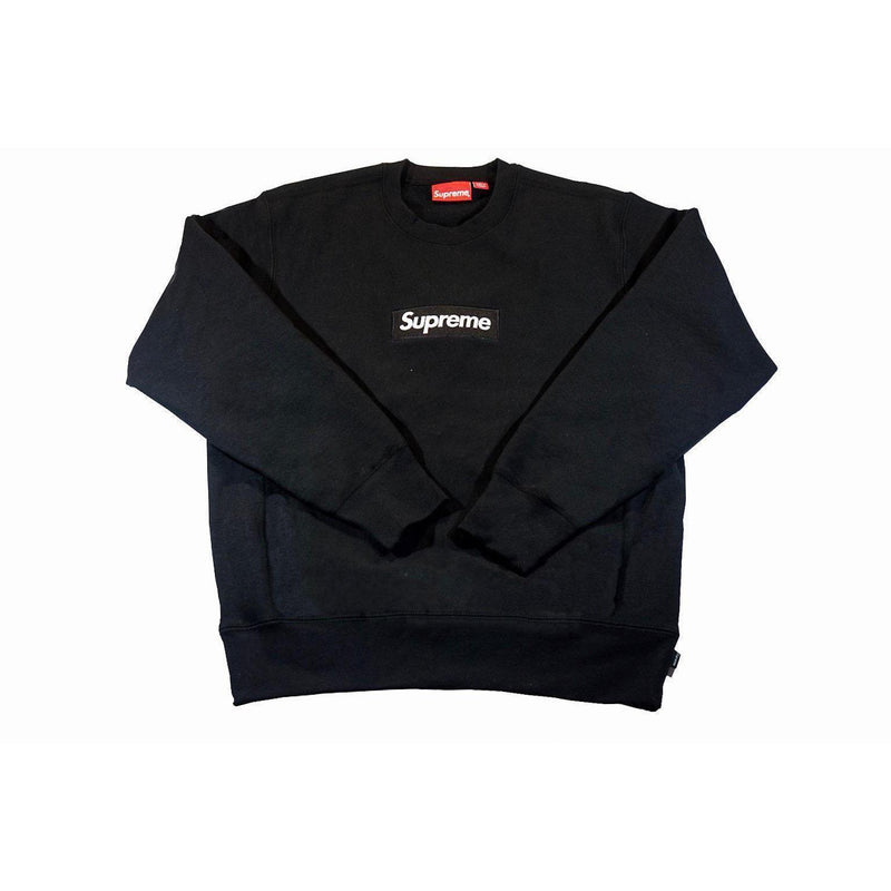SUPREME BOX LOGO CREWNECK BLACK-Hoodies and Sweatshirts-Supreme-M-HYPESTEIN