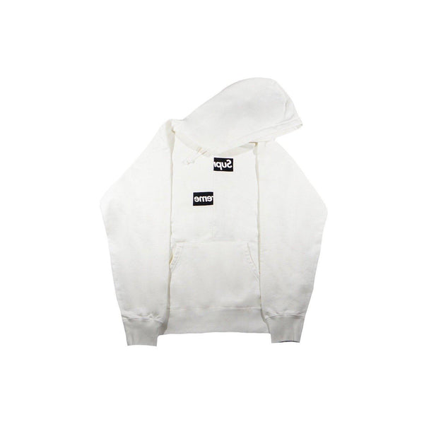 SUPREME CDG SPLIT BOX LOGO HOODIE WHITE-Hoodies and Sweatshirts-Supreme-HYPESTEIN