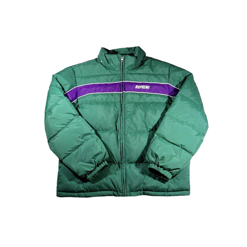SUPREME STRIPE PANEL JACKET DOWN GREEN-Jackets-Supreme-L-HYPESTEIN