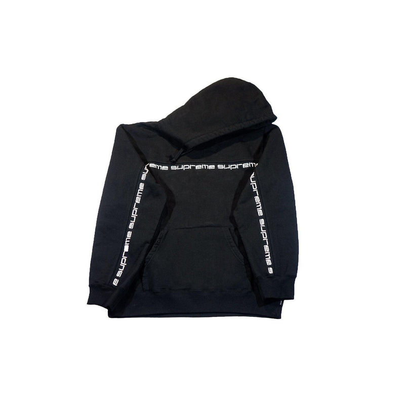 SUPREME TEXT STRIPE HOODIE BLACK-Hoodies and Sweatshirts-Supreme-M-HYPESTEIN