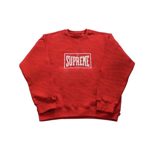 SUPREME WARM UP CREWNECK RED-Hoodies and Sweatshirts-Supreme-L-HYPESTEIN