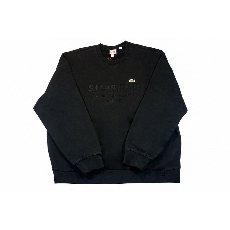 SUPREME X LACOSTE CREWNECK BLACK-Hoodies and Sweatshirts-Supreme-XL-HYPESTEIN