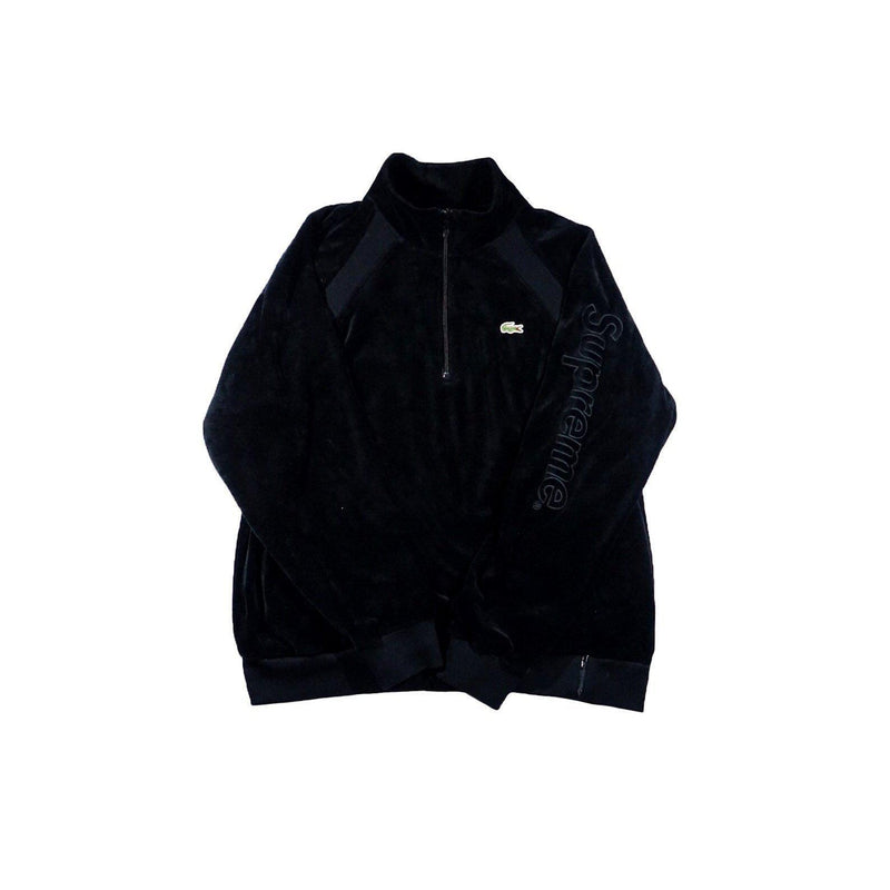 SUPREME X LACOSTE VELOUR HALF-ZIP TRACK TOP BLACK-Hoodies and Sweatshirts-Supreme-L (PRE-OWNED)-HYPESTEIN
