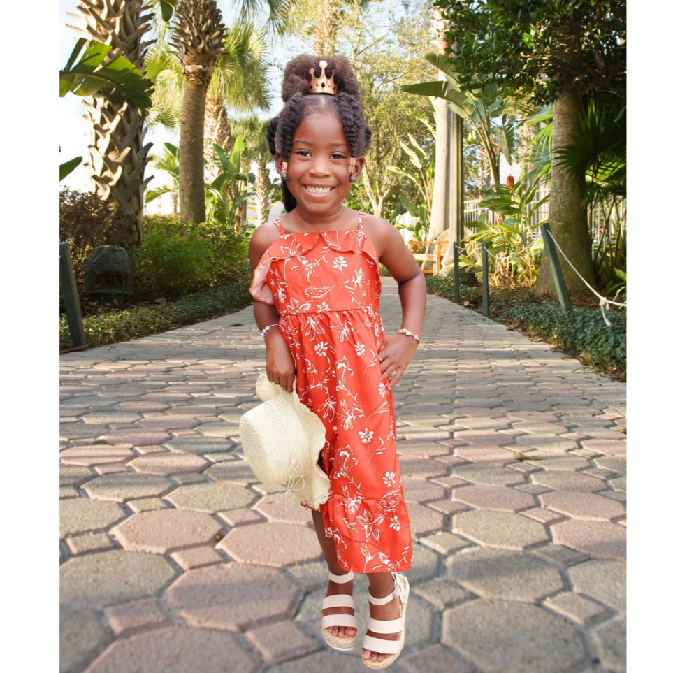 Crimson Floral Print Cami Dress - Girls
