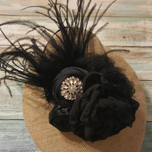 Black Feathered Organza Infant/Toddler Headband