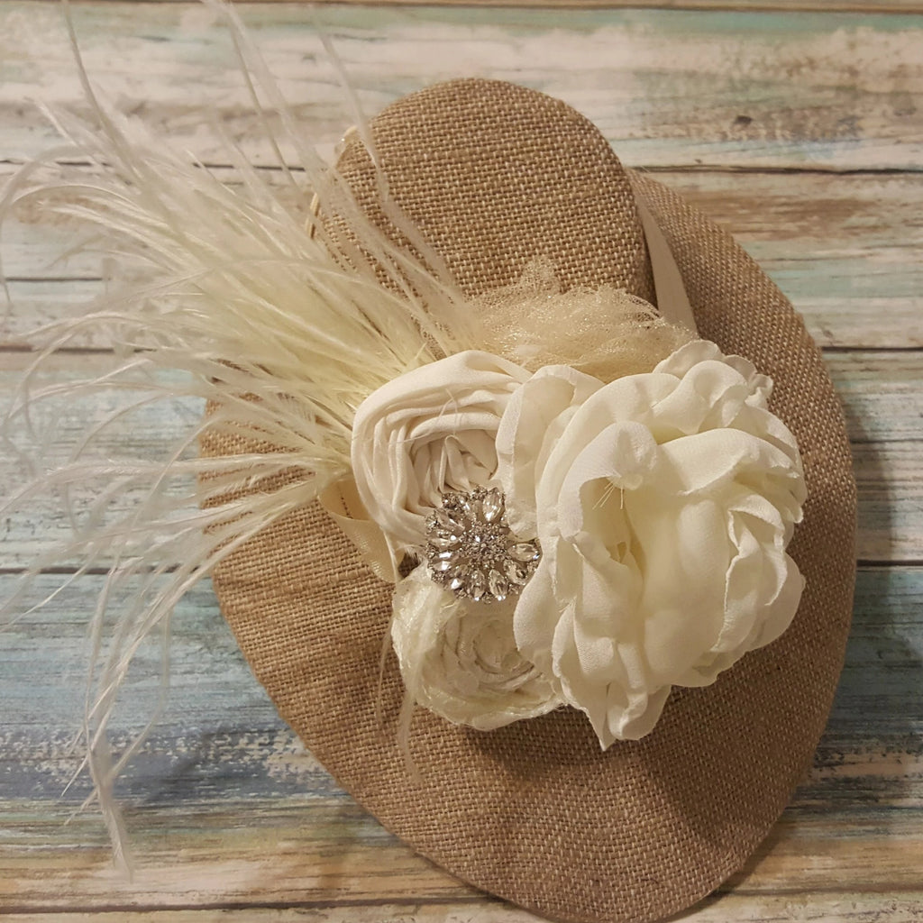 Cream Feathered Organza Infant/Toddler Headband