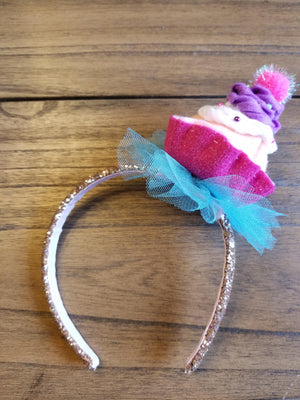 Happy Birthday Cupcake Headband Silver or Gold Glitter