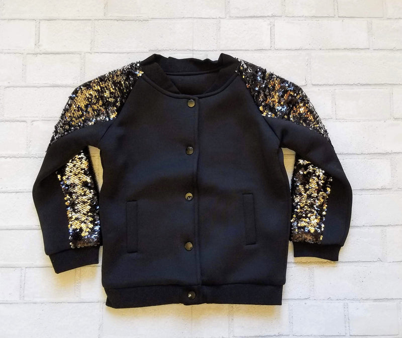 Girls Sequin Sleeve Varsity Style Jacket