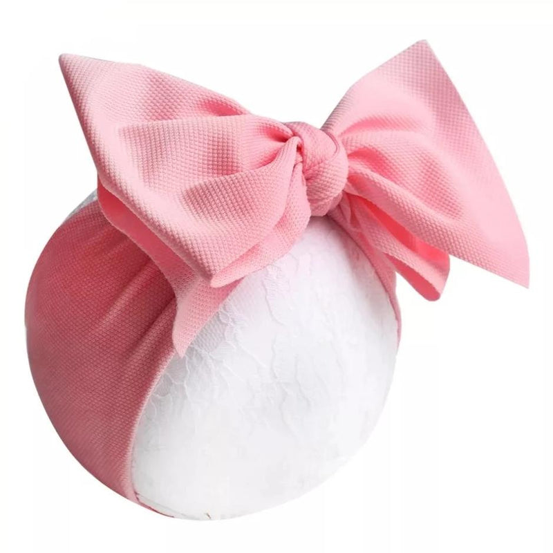 Powdered Pink Big Bow Fabric Headwrap, Turban, Headband