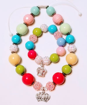 Princess Beaded Necklace and Bracelet Set