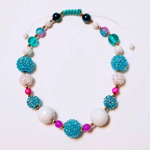Turquoise, Gold, White, and Fuscia Beaded Necklace
