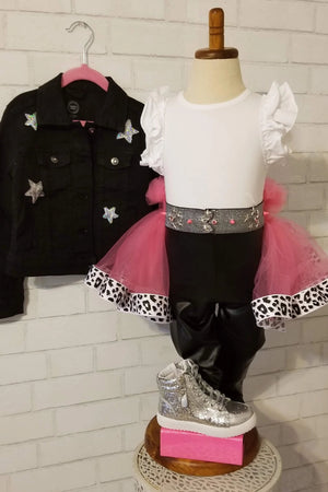 7PC Cheetah Print Pop Star Outfit - Only 1, Size 3/4T