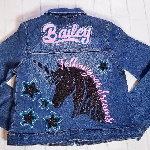 Custom Girl's Unicorn Jean Jacket - Follow Your Dreams