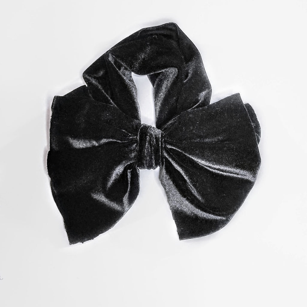 Black Velvet Headwrap, Big Bow Headwrap