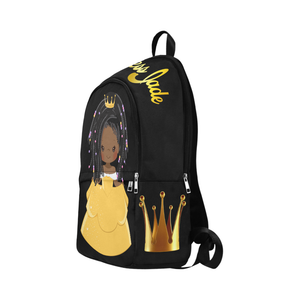 Custom Princess Backpack (Black & Gold), Book bag, Travel bag, Add Her Name