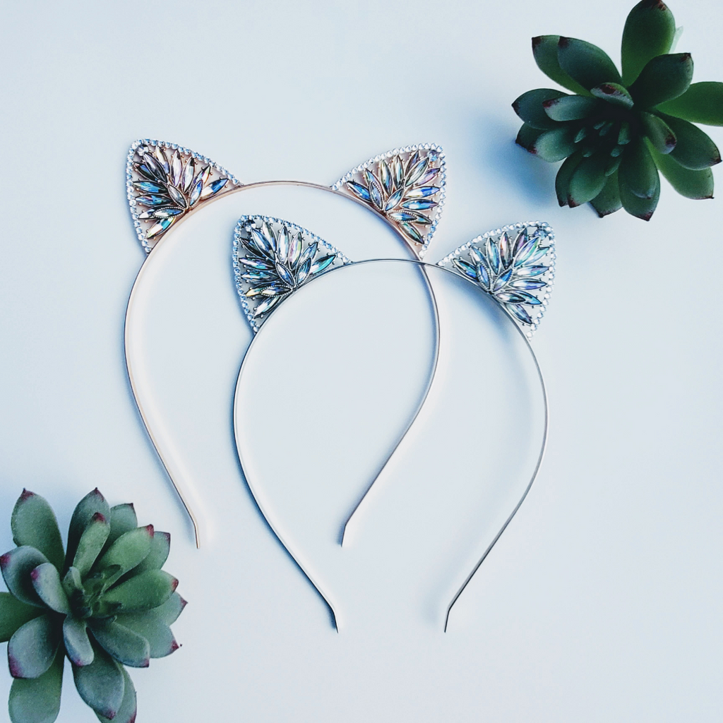 Girls Holiday Swarovski Kitty Ears Headband