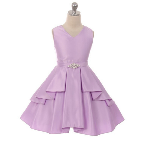 Lilac Satin Flower Girl Dress
