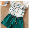 2pc Floral Top/Green Short Set