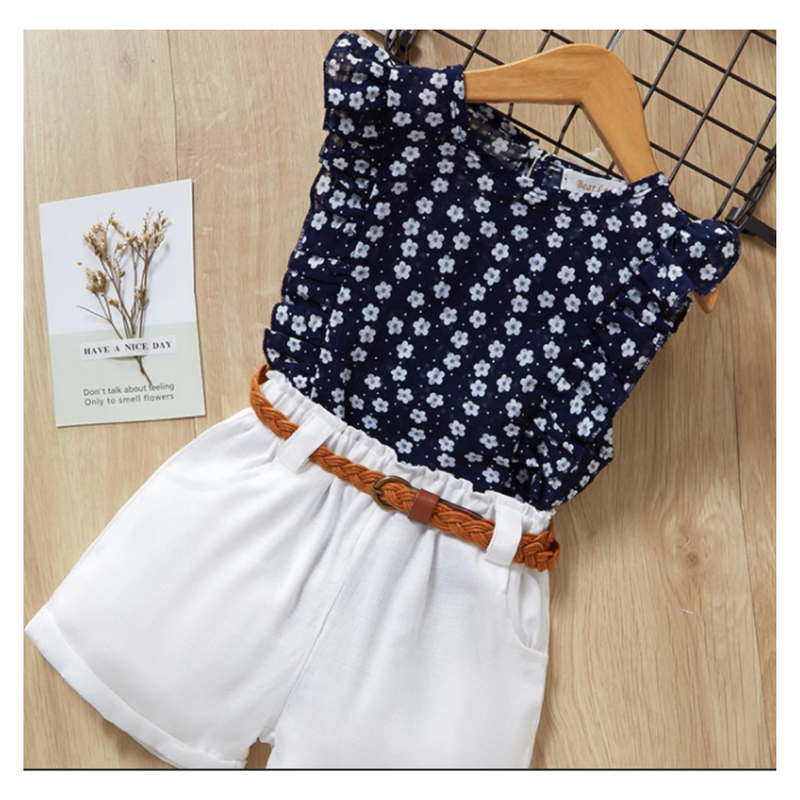 2pc Navy Floral Top/White Short Set