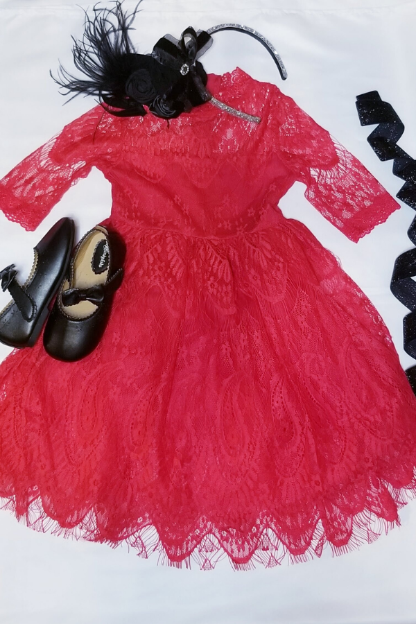 Red Paisley Lace Party Dress