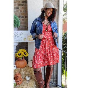 Crimson Floral Print Cami Dress - Mommy