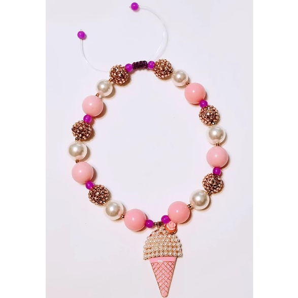 Ice Cream Cone Chunky Beaded Necklace