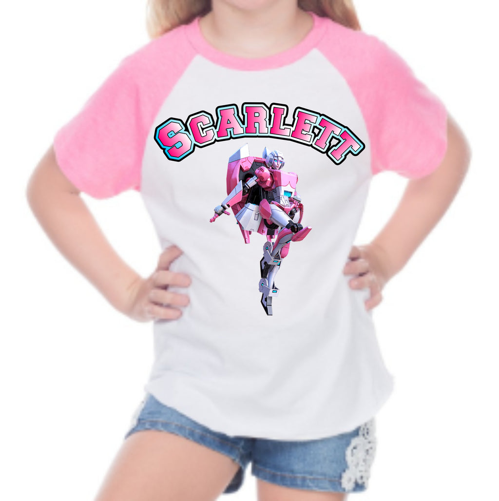 Girls Transformer Raglan - Autobots or Arcee - Sizes 2T - YM