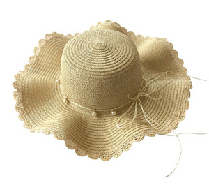 Toddler Wavy Panama Straw Hat/Beach Hat - Creme Brulee or Prussian Blue