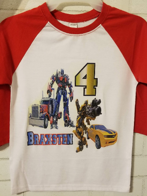 Transformers Birthday Tshirt, Optimus Prime; BumbleBee; Transformers Red or Blue Raglan
