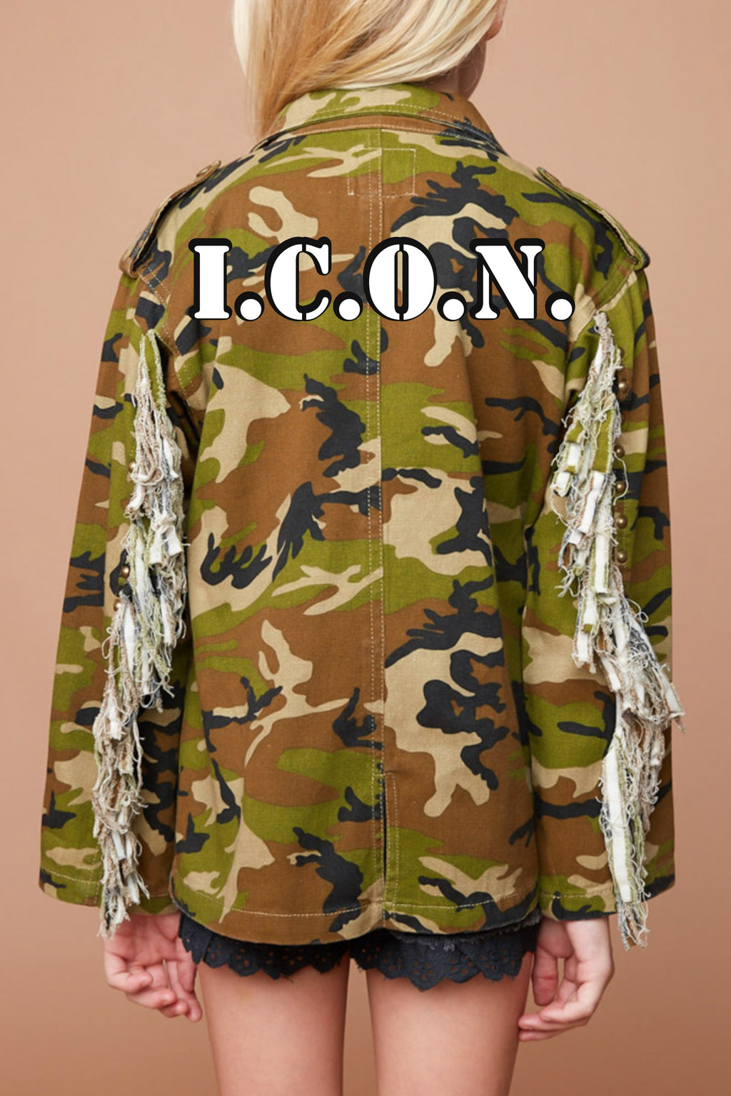 Girls Camo Fringe Sleeve Jacket - Custom Option Available