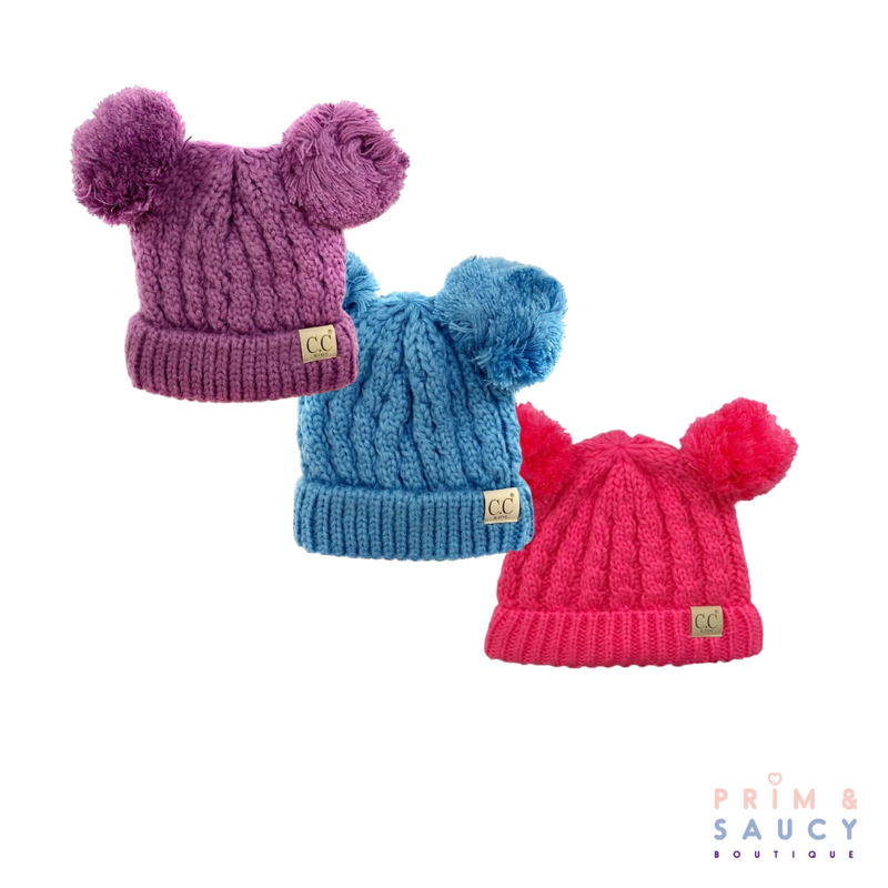 Infant CC Beanie Hats with Double Pom-Pom