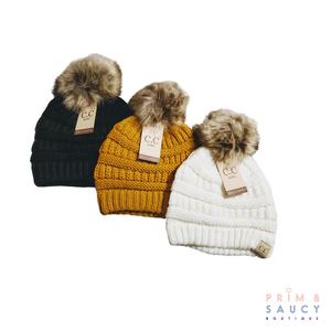 Kid's CC Beanie Hats with Fur Pom-Pom