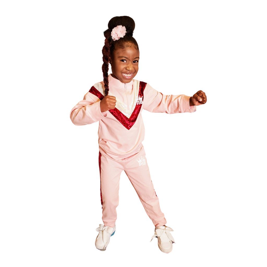 Girls Retro Pink Chevron Track Suit