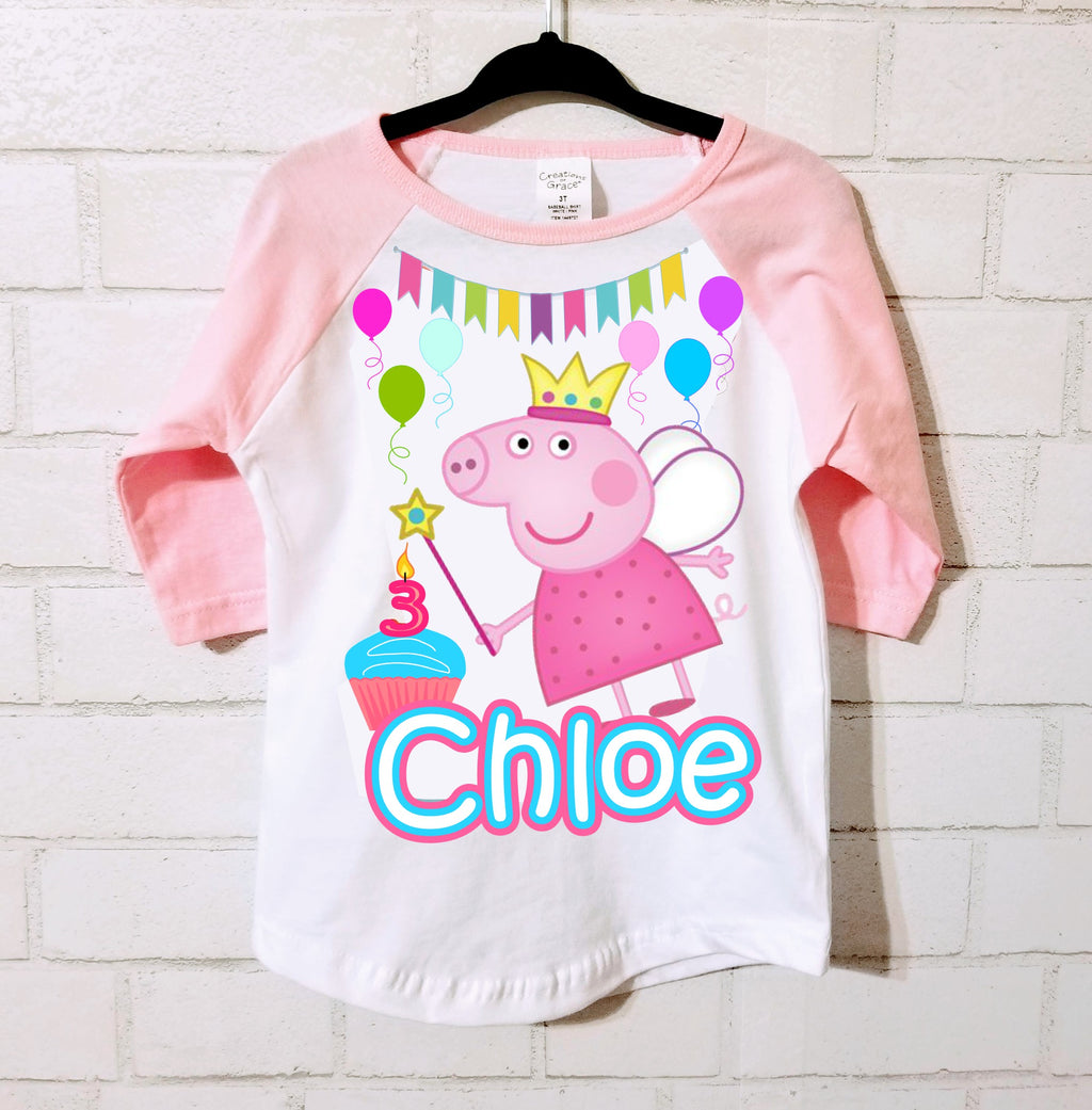 Peppa Pig Birthday Raglan - Sizes 2T - 5T Only
